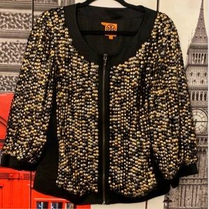 Tory Burch Sequin Gold Black Jacket Size 12